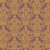 Lewis & Irene Farley Mount - 5569  - Brown Horses on Antique Gold - A225.2 - Cotton Fabric